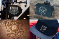 Motorcycle mockups composition with vintage moto emblems using for signboard, business card, wooden surface and cap design