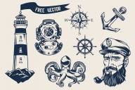 Vintage monochrome nautical elements set with bearded and mustached sea captain smoking pipe, lighthouse, ship anchor, navigational compass, octopus, diver helmet, rudder