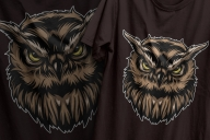 Colorful vintage design of serious owl head printing on t-shirts
