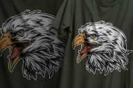 Colorful angry eagle head side view design in vintage style printing on t-shirts