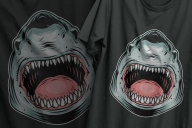 The old school style colorful design of aggressive ferocious shark printing on t-shirts