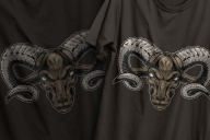 Vintage serious cruel ram head colorful design printing on t-shirts
