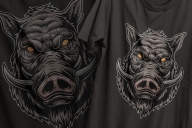 Vintage colorful design of bloodthirsty wild boar head with big tusks printing on t-shirts