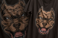 The old school style colorful design of serious bloodthirsty pitbull head printing on t-shirts