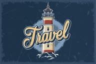 Colorful lighthouse and vintage brushes on dark blue background
