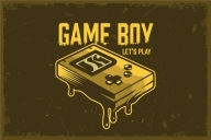 Retro gaming template with pocket game console and vintage calligraphic brushes