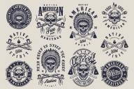 Set of Vintage Native American Indian Designs and Emblems on Light Background