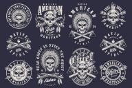 Set of Vintage Native American Indian Designs and Emblems on Dark Background