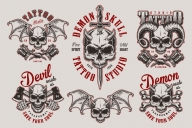 Set of Vector Vintage Demon Designs with Skull on Light Background
