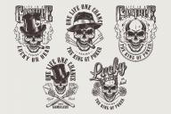 Set of vintage emblems for casino. Vector art