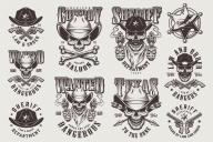 Set of Vector Vintage Sheriffs Monochrome Emblems on Light Background