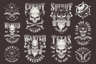 Set of Vector Vintage Sheriffs Monochrome Designs on Dark Background