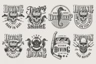 Set of vintage monochrome apparel designs for divers. Vector art
