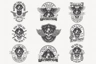 Set of vintage police monochrome designs on white background