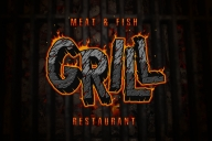The modern design of a grill restaurant menu using Desert Rock font as a headline imitating hot coal effect