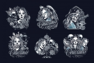 Six Chicano tattoo style designs created using vector illustrations of Chicano girls, skulls, gangster and tattoo elements