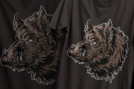 Vintage wild boar head colorful designs printing on t-shirts