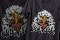 Vintage proud eagle head colorful design printing on gray t-shirts