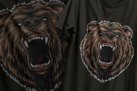 Vintage colorful design of ferocious aggressive grizzly head printing on t-shirts