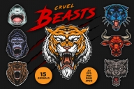 The cover of cruel beasts vintage designs set with angry bloodthirsty shark, gorilla, bear, black panther, bull, wolf, tiger heads