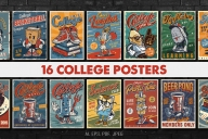 16 vintage college posters cover with carousels of colorful brochures