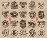 Old school style hunting badges collection with fishing and hunting monochrome style emblems, labels and prints on light background