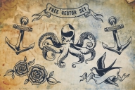 The monochrome nautical vector elements set with octopus, ship anchors, roses and flying swallow in old school style
