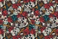 Day of the dead seamless pattern with skull, roses