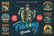 23 Fishing t-shirt designs cover with different fishing illustrations.