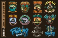 11 fishing colored designs on dark background with different vector illustrations and text