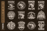 12 fishing monochrome designs on dark background with different vector illustrations and text