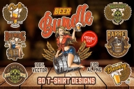 20 Beer t-shirt designs cover with different beer illustrations.