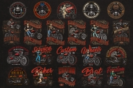 21 motorcycle colored designs on dark background with different vector illustrations and text