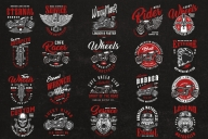 20 motorcycle colored designs on dark background with different vector illustrations and text