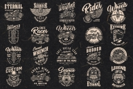 20 motorcycle black and white designs on dark background with different vector illustrations and text