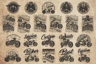 21 motorcycle black and white designs on light background with different vector illustrations and text