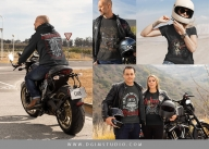 Different motorcycle t-shirt designs on apparel mockups
