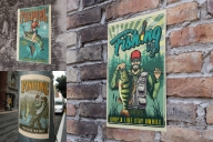 Fishing posters on poster mockups