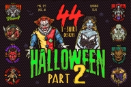 44 Halloween bundle cover with different illustrations and text.