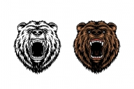 The old school style angry bear heads in color and monochrome versions on white background