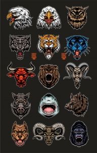 Colorful vintage angry cruel animal heads designs set with pitbull, tiger, goat, bear, gorilla, black panther, bull, wolf, eagle, owl, shark, wild boar, ram
