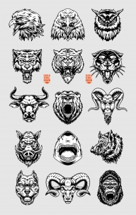 Vintage aggressive bloodthirsty animal heads designs collection with pitbull, tiger, goat, bear, gorilla, shark, black panther, bull, wolf, eagle, owl, wild boar, ram in monochrome style