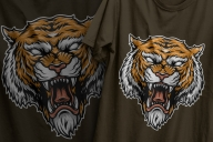 Colorful bloodthirsty tiger head design in vintage style printing on t-shirts