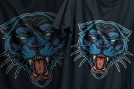Colorful vintage angry cruel black panther head design printing on t-shirts