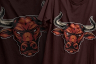 Colorful design of serious red bull head in vintage style printing on t-shirts