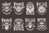 Set of Vector Vintage Vikings Monochrome Emblems on Dark Background