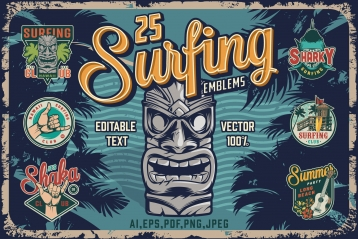 Old school style colorful surfing designs cover with Hawaiian tribal tiki mask, palm trees and different emblems