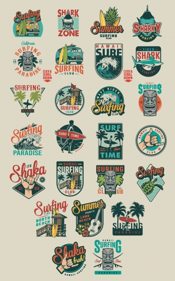 Vintage summer surfing colorful labels set with surf van, fruits, surfer shaka hand sign, Hawaiian tribal tiki mask, shark, man holding surfboard, turtle, ukulele, hibiscus flowers, sea waves