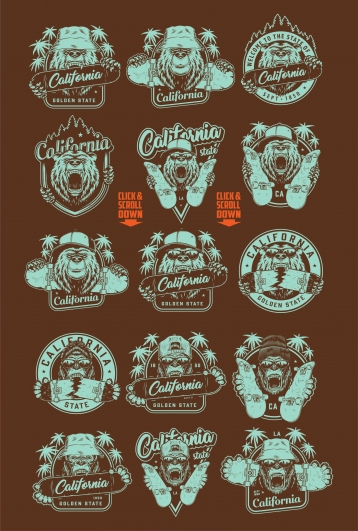 Old school style California badges with gorilla and bear heads in sunglasses and different hats holding skateboards on dark background