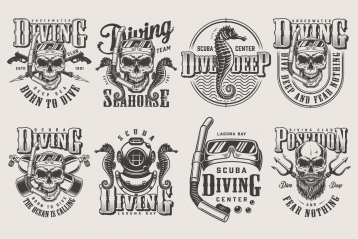 Vintage monochrome style diving prints set with skull in scuba mask, snorkel, oxygen balloons, spear gun, diver helmet, Poseidon trident, seahorse